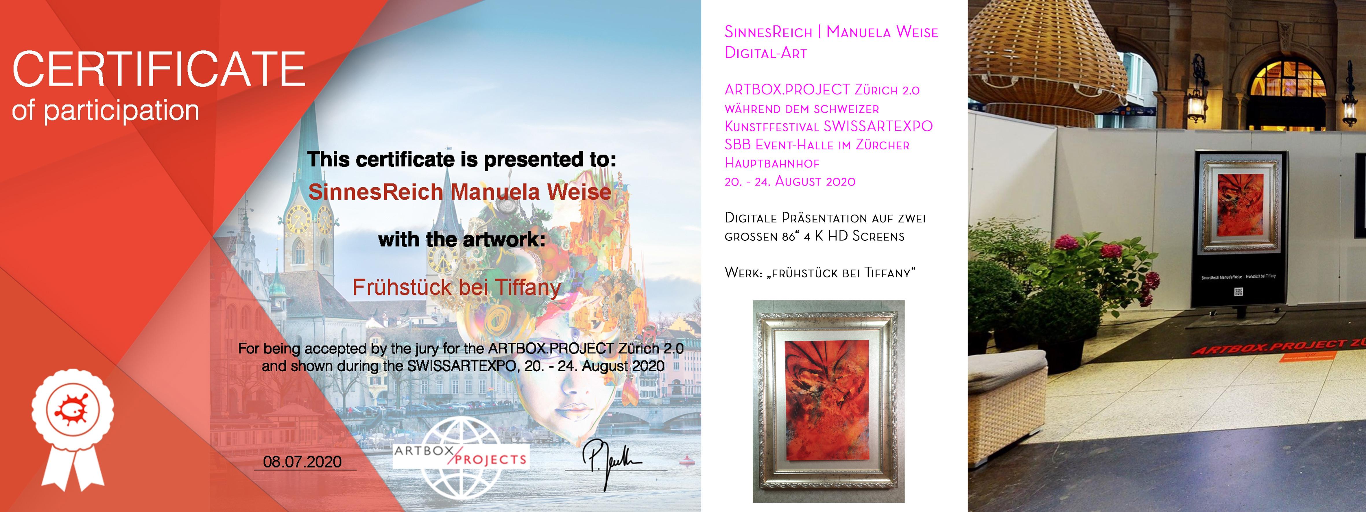 Ausstellung ARTBOX.POJECT Zürich 2020, Teilnahme-Zertifikat