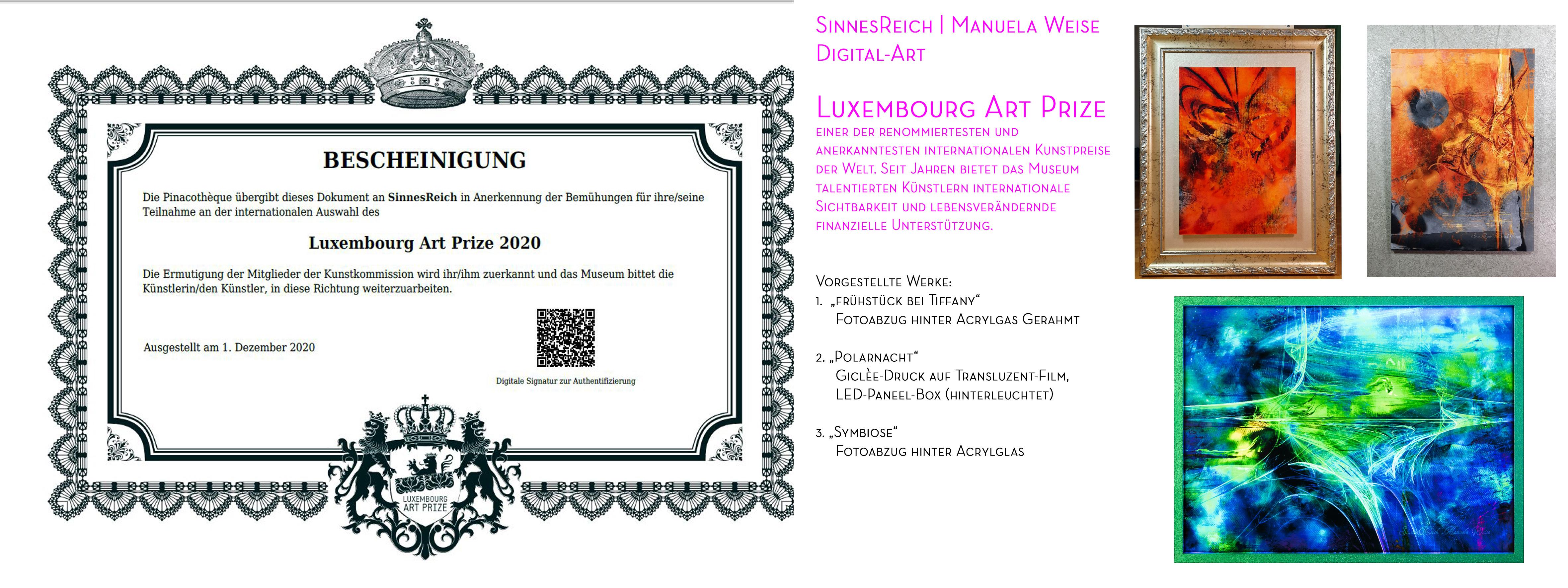 Teilnahme Luxembourg Art Prize 2020